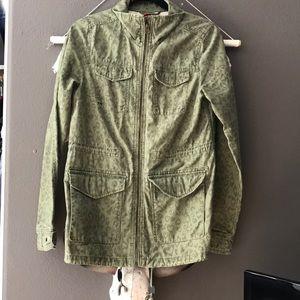 H&M cheetah green jacket
